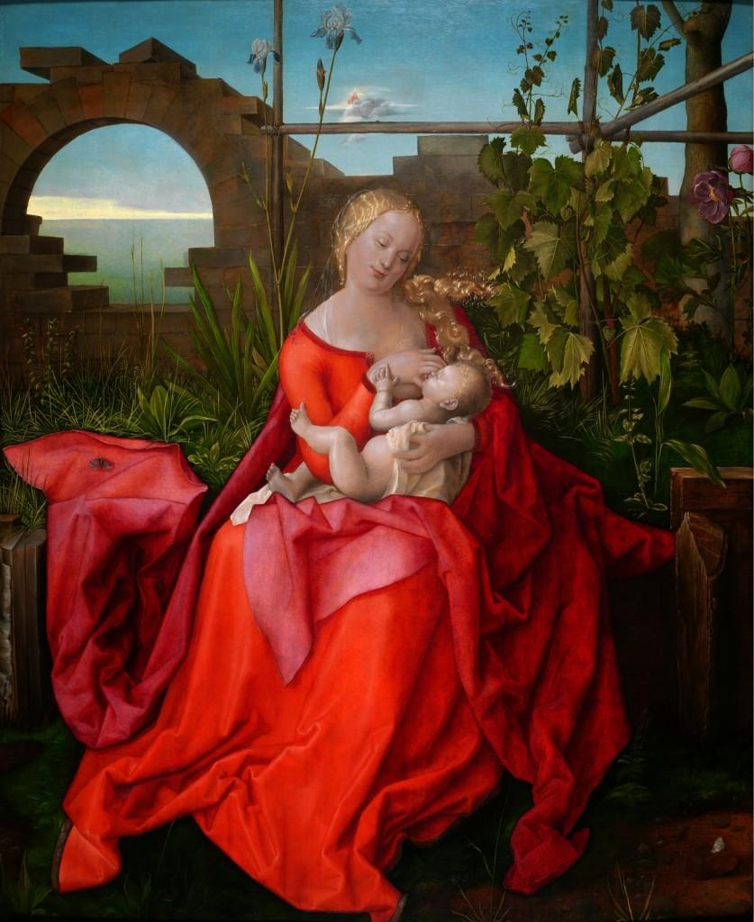 La Vergine e il Bambino (La Madonna con l'iris) dipinto di Albrecht Durer (1471-1528)