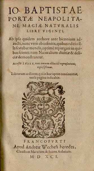 Frontespizio della Magiae naturalis ed. del 1591.