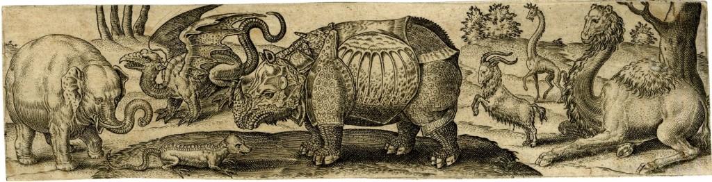 From Pliny the Elder, The Natural History, Book VIII, Ch. 11-12. Paesaggio con vari animali e altre creature (es. elefante, lucertola, drago, rinoceronte, stambecchi, giraffe e cammello). Incisione di Abraham de Bruyn (1578).