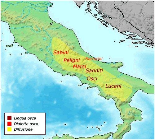 Zone di diffusione della lingua osca e popolazioni italiche che si stabilirono in queste regioni.