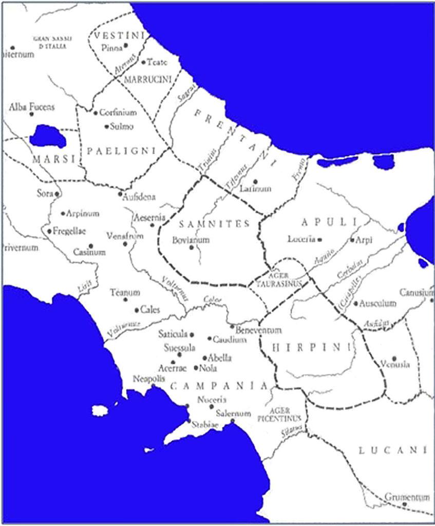 Aree occupate dai Sanniti e dalle popolazioni confinanti [Salmon, 1995].