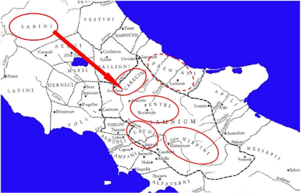 Ipotetico tragitto del Ver Sacrum delle popolazioni sabelliche verso i loro rispettivi territori d'insediamento [rielab. da 'Il Sannio e i Sanniti', Salmon]
