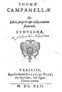 Syntagma de libris propriis, 1642 – frontespizio (Archivio ILIESI CNR)
