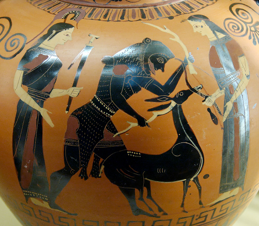 Eracle e la cerva di Cerinea (540-530 a.C. – anfora ritrovata a Vulci).