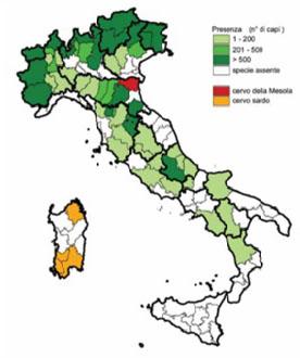 Presenza del Cervus elaphus in Italia fino al 2005 (Banca Dati Ungulati, Rapporto ISPRA 2001-2005).