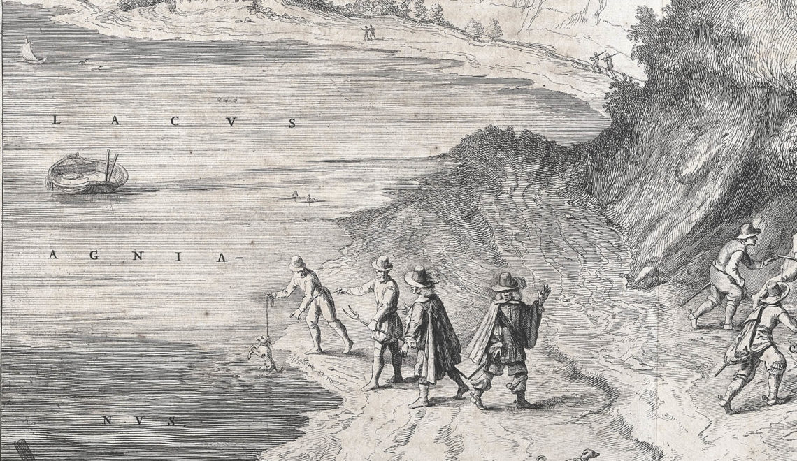 L0038338 The lake of Agnano. Etching, 16--. Credit: Wellcome Library, London. Wellcome Images images@wellcome.ac.uk http://wellcomeimages.org Etching of Lake Agnano, near Naples. The Grotta del Cane is in the centre and the steam bath of San Germano is on the right. Three men take a dog into the grotto to demonstrate the experiment in which noxious gases emitted from it cause asphyxiation of the dog. On the left, two local men suspend an asphyxiated dog in the lake in order to revive it: two tourists attend the experiment. Etching 16uu Published: [16--] Printed: 1600-1700  Copyrighted work available under Creative Commons Attribution only licence CC BY 4.0 http://creativecommons.org/licenses/by/4.0/