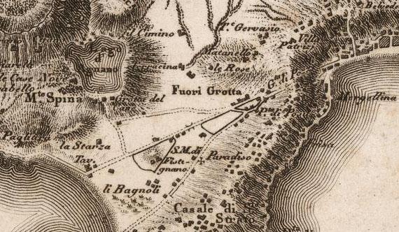 Il lago di Agnano (Carta geografica N° 14 Napoli, Ischia, Procida – Giovanni Antonio Rizzi Zannoni, 1794)