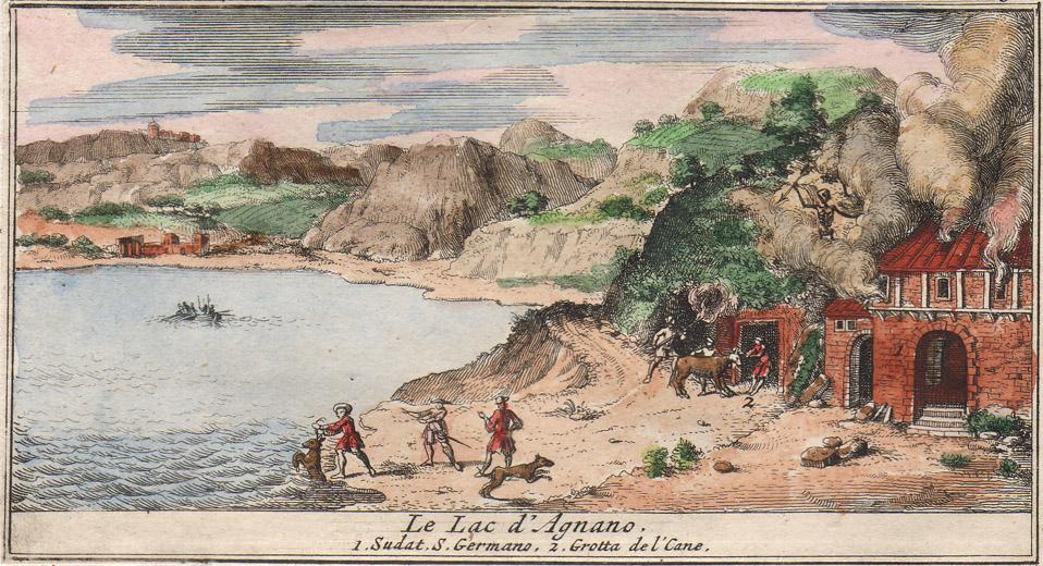 La grotta del Cane e sulla sinistra il lago di Agnano (acquaforte aquerellata tratta da Sieur de Rogissart, Les délices de l'Italie [...], Volume 3, Leida, Pierre Vander Aa, 1706).