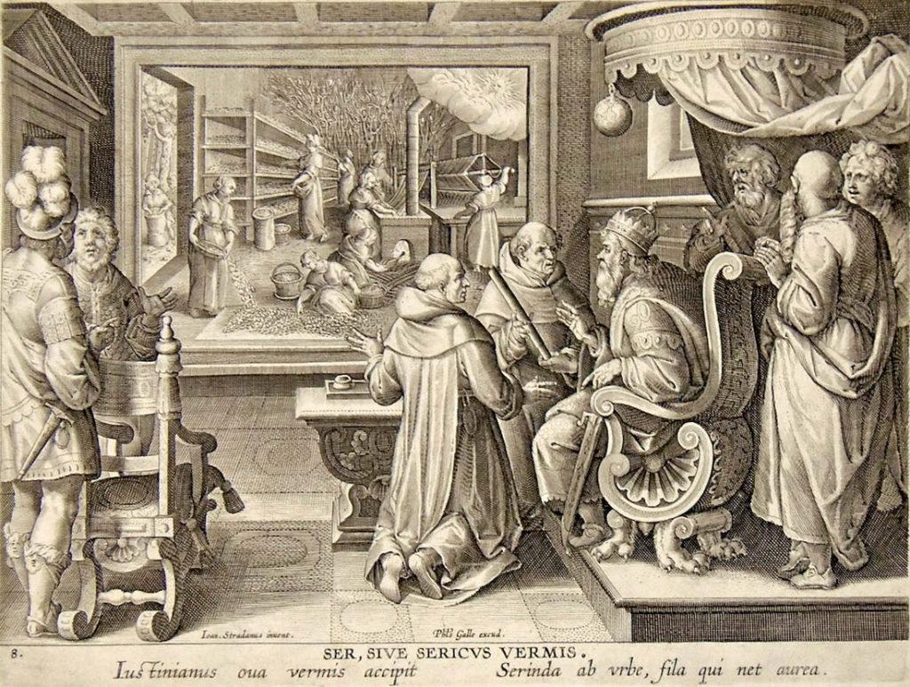 Jan Van der Straet - Ser, sive sericus vermis (incisione a bulino, Anversa, ca. 1590).