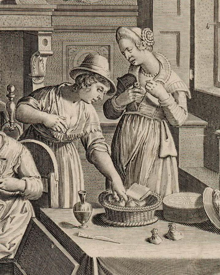Donne che si collocano tra i seni i bozzoli avvolti in tele di lino (Ian Van der Straet - Aspersa vino tersaq ova vermium)