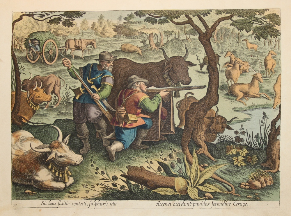 Caccia al cervo con armi da fuoco (Jan van der Straet, Venationes ferarum, avium, piscium, pugnae bestiariorum et mutuae bestiarum [...], Anversa, Philippe Galle, 1602).